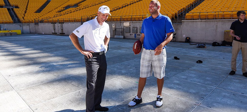 Jim Furyk, Ben Roethlisberger Play Golf At Heinz Field