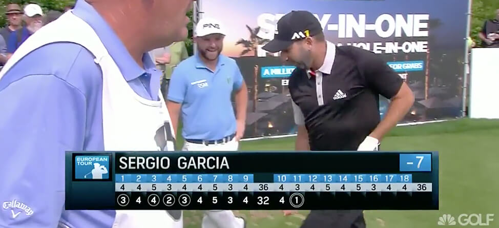 Sergio Garcia Celebrates Ace With An Homage To Miguel Angel Jimenez
