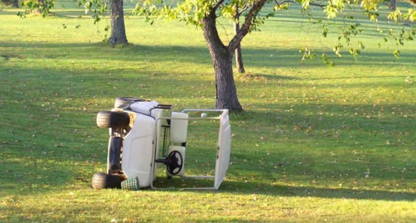 Idiot Best Man Crashes Golf Cart, Doesn't 'Like' Bride