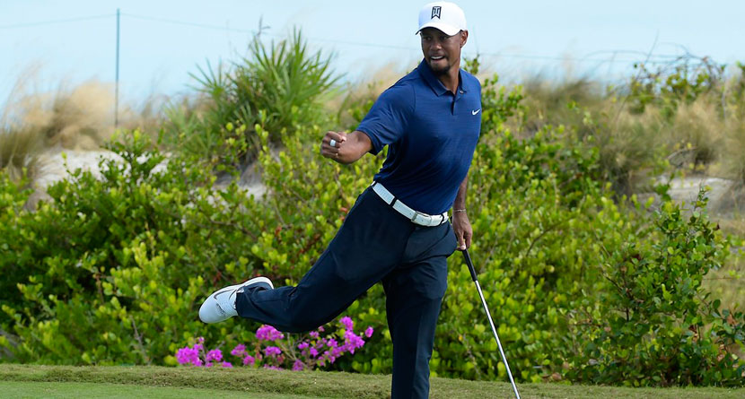 Tiger Surges In Second Round With Bogey-Free 65