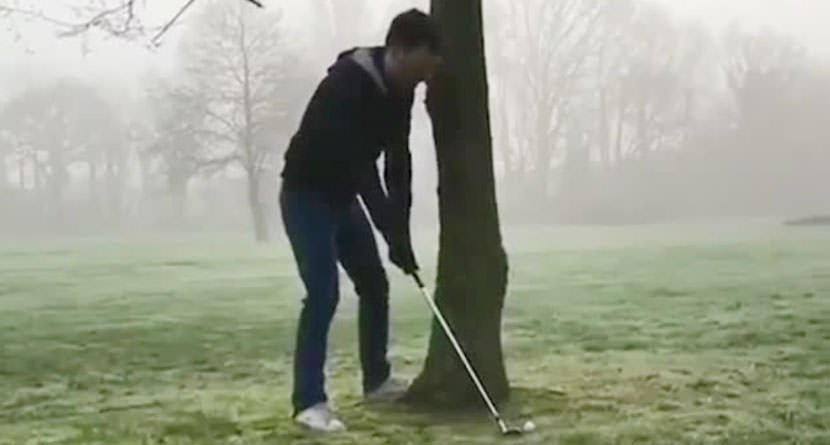 Amateur Snaps Golf Club by Hitting a Tree