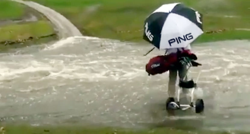 Golfer Washed Away Overflowing Creek