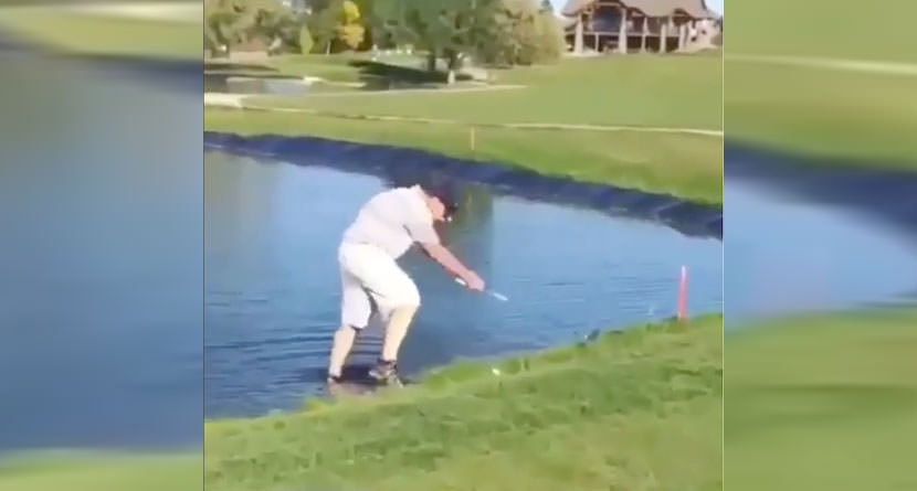 Golfer Slides Down Embankment Into Water Hazard