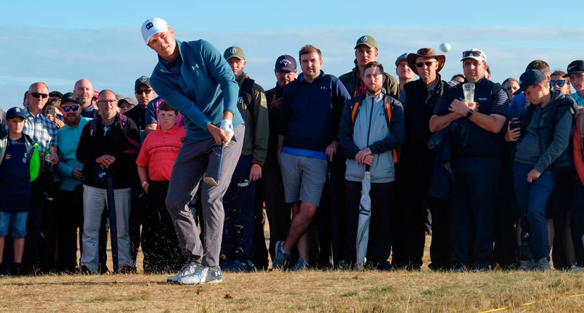 Spieth Chips In From Impossible Position Behind Green