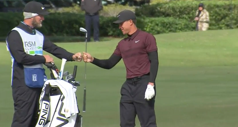 Champ Plays Perfect Chip And Release For Eagle