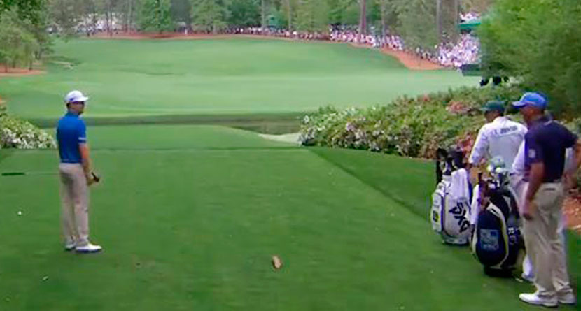 Johnson Accidentally Hits Tee Ball With Practice Swing