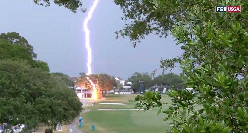 Lightning Strikes Tree At U.S. Women's Open