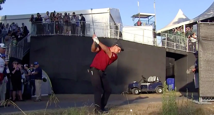 DeChambeau Plays Over Grandstand After Unique Ruling