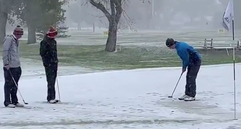 Montana State Tournament Played On Snow-Covered Course