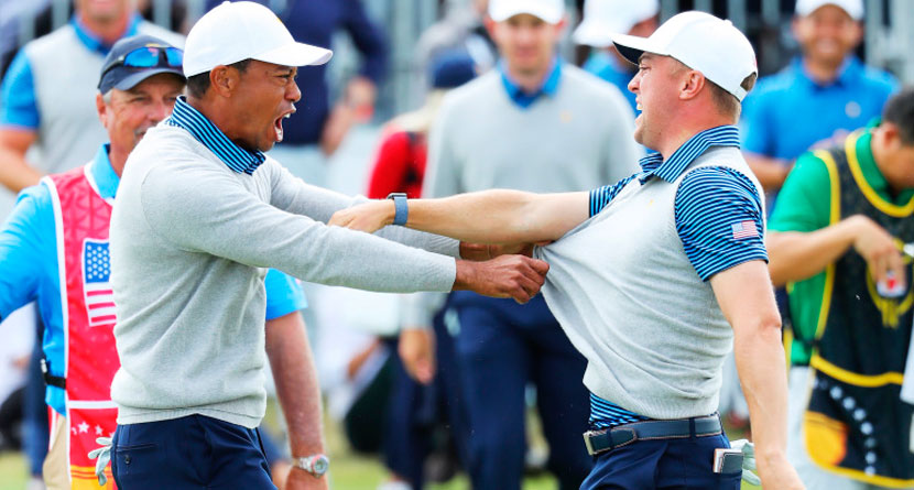 JT, Tiger Share Epic Celebration As U.S. Grabs Momentum