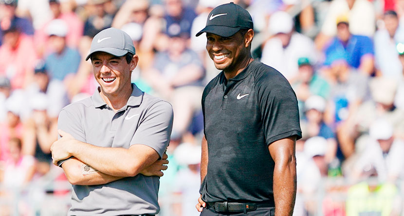 Rory Nearly Jars 180-Yard Shot As Tiger Tends The Pin